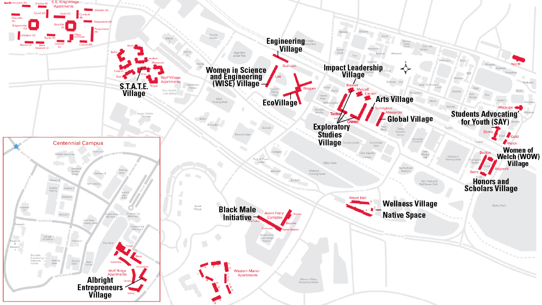 Where the villages are located on campus